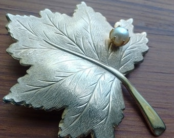 Vintage Sarah Coventry Faux Pearl and Maple Leaf Brooch