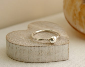 Sterling Silver Pebble Stacking Ring, Stacking Ring, Pebble Ring