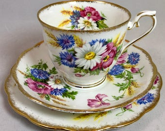 Reserved Royal Albert Harvest Bouquet Trio, Teacup Saucer and Dessert Plate