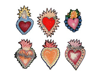 Sacred Heart - Iron on Patch - Tattoo - Rockabilly -  Heart Fabric - Diy - Red - Folk Art - Patches - Cotton Appliques Set of 6 or 1 No Sew