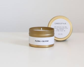 FLORA + BLOOM - 4 oz Travel Soy Candle - Hand-Poured - Candlefolk