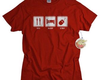 Computer Programmer Shirt Eat Sleep Code T Shirt for Men Computer Coding geekery clothing programmer tshirt