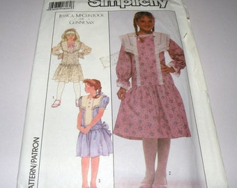 Simplicity 8961 dated 1989 Jessica McClintock GUNNE SAX Girls size 7 Frilly Dress Pattern Uncut and Complete