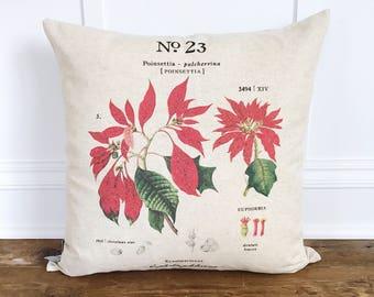 Poinsettia Botanical Pillow Cover