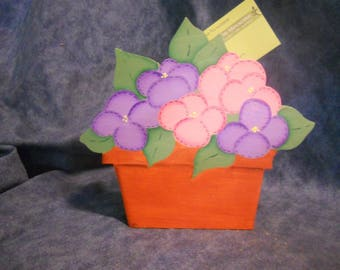 Country Pansy Flower Pot Recipe Holder