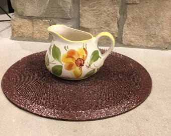 Vintage Floral Pitcher Hand Painted in Portugal