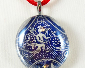 Bicycle Playing Card Glass Pendant