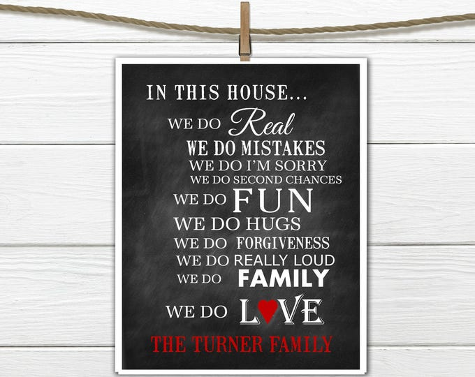 In This House we do...  Family Print Personalized Family Gift