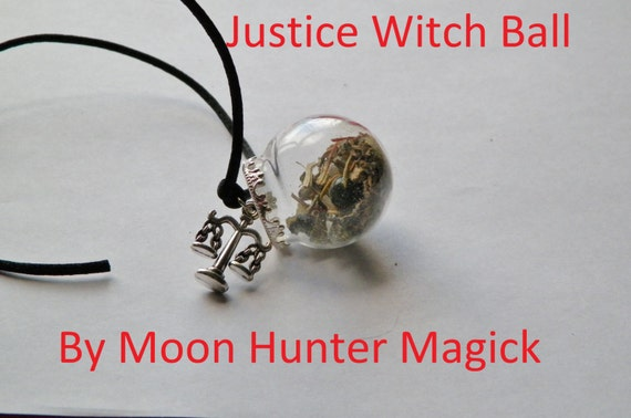 Justice Court Case Amulet Mini Witch Ball Witch Bottle Pagan Wicca Reiki
