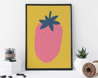 Strawberry Print - Fruit Art - Nursery Art - Kitchen Art - Quirky Gift - Children's Print - Wall Art - Home Decor - 8 x 11 Print