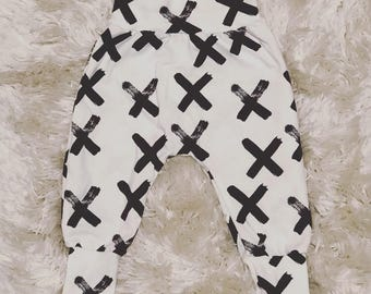 Baby pants - boy pants - boy bottoms - toddler pants - cuff pants - harem pants - boys harem pant - black X