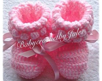 Baby Crochet Booties, Crochet Baby Pink Booties, Newborn, Handmade, Baby Crochet, Baby Gifts, Baby Booties, Baby Crochet Shoes, 0-3mth.