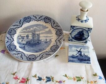Delfter porcelain, Porcelain bottle,plate ,tile, Convolut Cobalt blue,Maastrich
