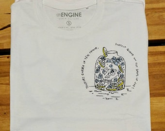 Unique T-shirt completely handpainted. Humorous Shirt Skull lemon ice, in juice and keep your head cool.