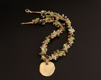 Gold Pendant on Garland Crocheted Necklace with Brown Pearls, Green and Gold Seed Beads. Gold Textured Necklace with Gold Pendant  S-310