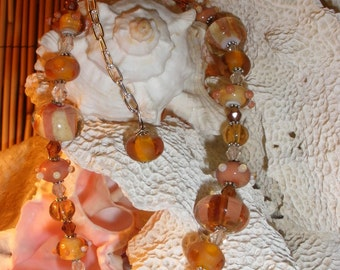 Autumn Harvest Lampwork Glass Bead Necklace