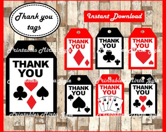 Casino Night Poker Thank you Tags, printable Casino Night Poker party Thank you Tags, Casino gift tags