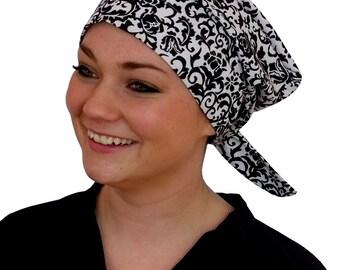 Sandra Scarf, A Women's Surgical Scrub Cap, Cancer Headwear, Chemo Head Scarf, Alopecia Hat, Head Wrap, Head Cover, Hair Loss - Black White