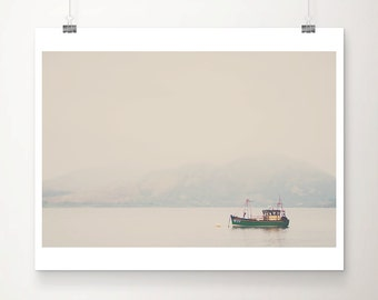green boat photograph Scotland photograph landscape photograph mountains photograph Loch photograph Scottish decor green boat print