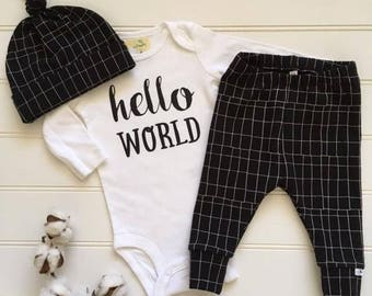 NEW! Black and Grey Grid/Newborn Outfit/Bring Home Outfit/Toddler Joggers