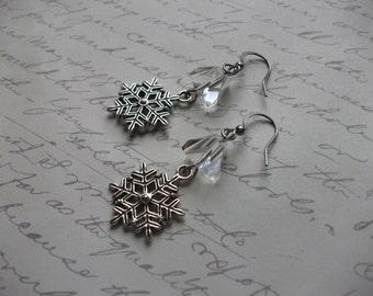 Snowflake ice cube earrings