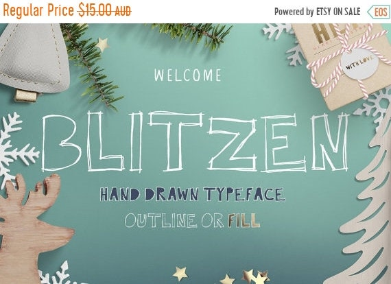 70% OFF Sale Blitzen Display Font, Hand Drawn scribbly Display typeface with outlines and center fill