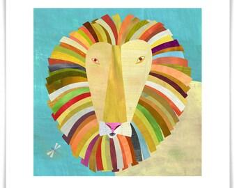 Colorful Lion, Giclee Art Print, Safari Theme for Kid's Room or Nursery, Framing Available