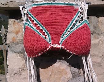 crochet bikini Simply Red Crochet swimwear Bikini Crochet swimsuit Boho bikini Hippie bikini Crochet beachwear String bikini