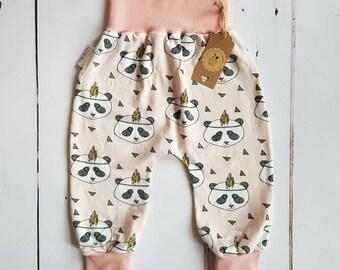 Baby girl clothes, harem pants, panda, baby gift, baby shower gift, organic baby clothes, baby girl gift, gender neutral baby, girl leggings
