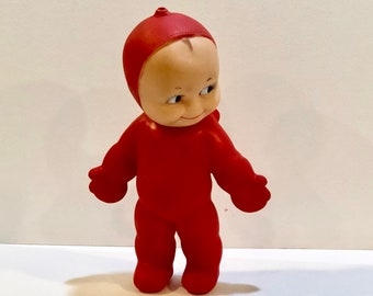 Vintage 1960s Kewpie, Cameo Squeaky Toy, Doll, RAGSY, Red Suit and Hood, Squeeze Toy, Wings, Rose O'Neill, Collectible, Mid Century Toy