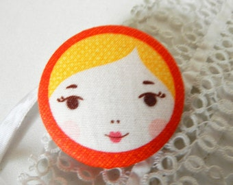 Button out of fabric, matryoshka, 40 mm / 1.57 in