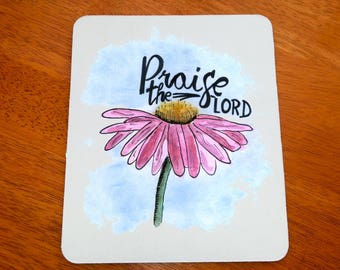 Christian Mouse Pad, Praise The Lord, Christian Mousepad, Christian Mousemat, Christian Mouse Pad, Christian Office Decor