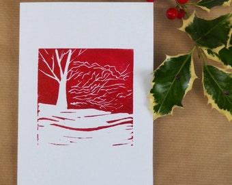 Linocut card, FREE P&P in UK, original art card, winter woodland image, greetings card, beechwoods linocut, Chiltern woodlands print