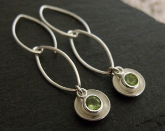 Domed Sterling Silver and Peridot Earrings