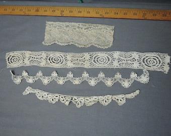 Vintage Lace 4 Pieces of Fancy Antique Lace Trims from Victorian Edwardian Dress Remnants, Vintage Lace