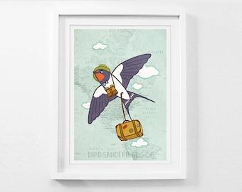 Barn Swallow Traveler - Bird Traveler - Bird Art Print - By BirdsandFriends