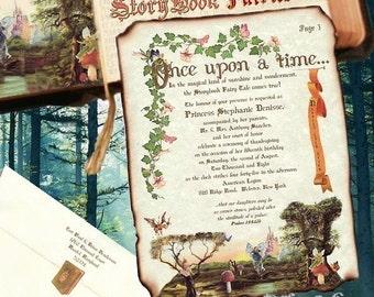 Qty 50 Wedding invites birthday, sweet 16, anniversary, party, Invitations Storybook fairy tale cinderella Scroll