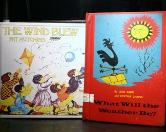 SET of Two Vintage Children's Weather Books Stories Sciece Environment Fun Illustrated Full Color Read Aloud Clouds Sky Rain Sun Snow Wind