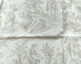 """French Country Toile De Jouy Fabric  Country Life by Waverly  Beige Off White Cotton Table Cloth Cover Home Decor 53 x 54"""" / 135 x 137 cm"""