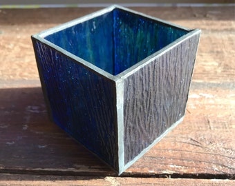 Stained Glass Candle Holder, blue green swirl, looks like the ocean