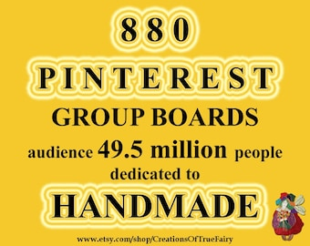 880 Pinterest group boards to promote your handmade craft items List of groups for social media free promotion Help for your shop marketing