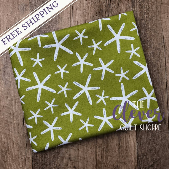 Yardage, Michael Miller Fabric, Project Dovetail, Sea Star, Meadow, Green, Ocean, Modern, Herb, Olive, Starfish, Quilting,