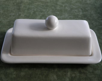 Ivory White Butter Dish / Server With Lid & Knob -  New, Pottery -  Satin Glaze - USA Made