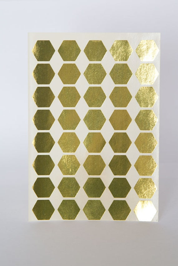 Gold sticker hexagon geometric sticker silver paper label