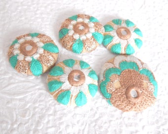 5 aqua brown embroidered mirror fabric buttons, 1 .5 inches,  3.81 cm, 38.1 mm, size 60 buttons, size 75 button