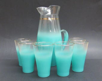 Vintage Blendo Teal Frost Beverage Pitcher with 6 Tumblers ( E9700)