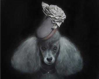 Poodle Dog , whimsical poodle poster dog illustration dog picture gift dog lover dog print painting portrait poodle print, poodle dog Print
