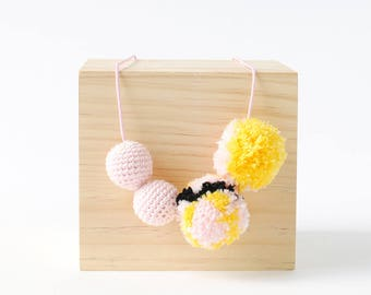 Blush Mosaic Pompom Crochet Necklace | Fun & Bright Womens and Girls Necklace, Crafty Necklace, Pom Pom Necklace, Crochet Necklace