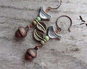 Autumn Day    Zen   Earthy   Organic   Copper Acorn and Bird Earrings   Boho   Hippie   Limited Edition   Earrings Under 20   Woodland Birds