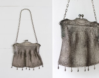 1900s antique mesh purse | art nouveau chain mail purse | victorian silver mesh purse | 1910s edwardian purse
